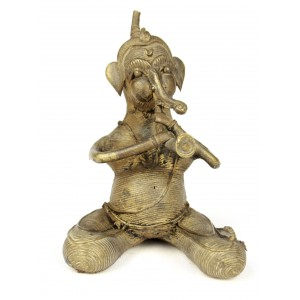 Ganesha, the elephant-headed Hindu God playing 'shehnai'