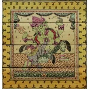 Vishnu Dashaavtaar on palm leaf with Ganesha at the center.