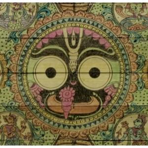 Vishnu Dashaavtaar with Lord Jagannath as the central motif on palm leaf.