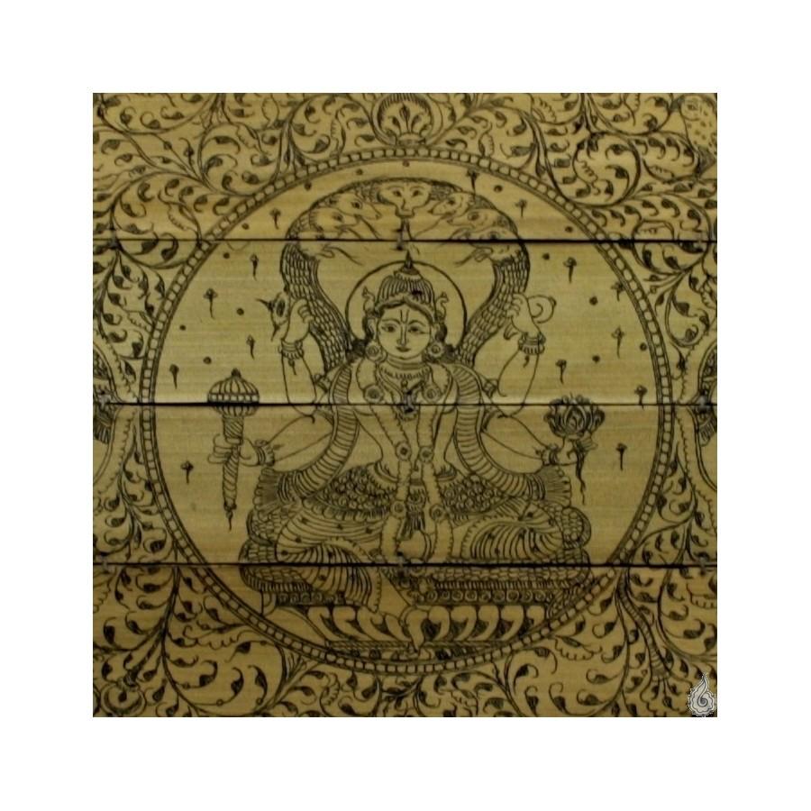 Palm Leaf Painting With Vishnu On Sheshanag With Lotus