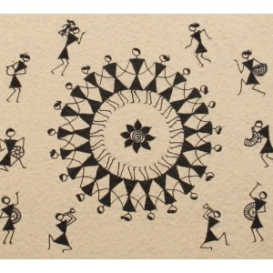 A Warli painting with vignettes of Warlis' way of life
