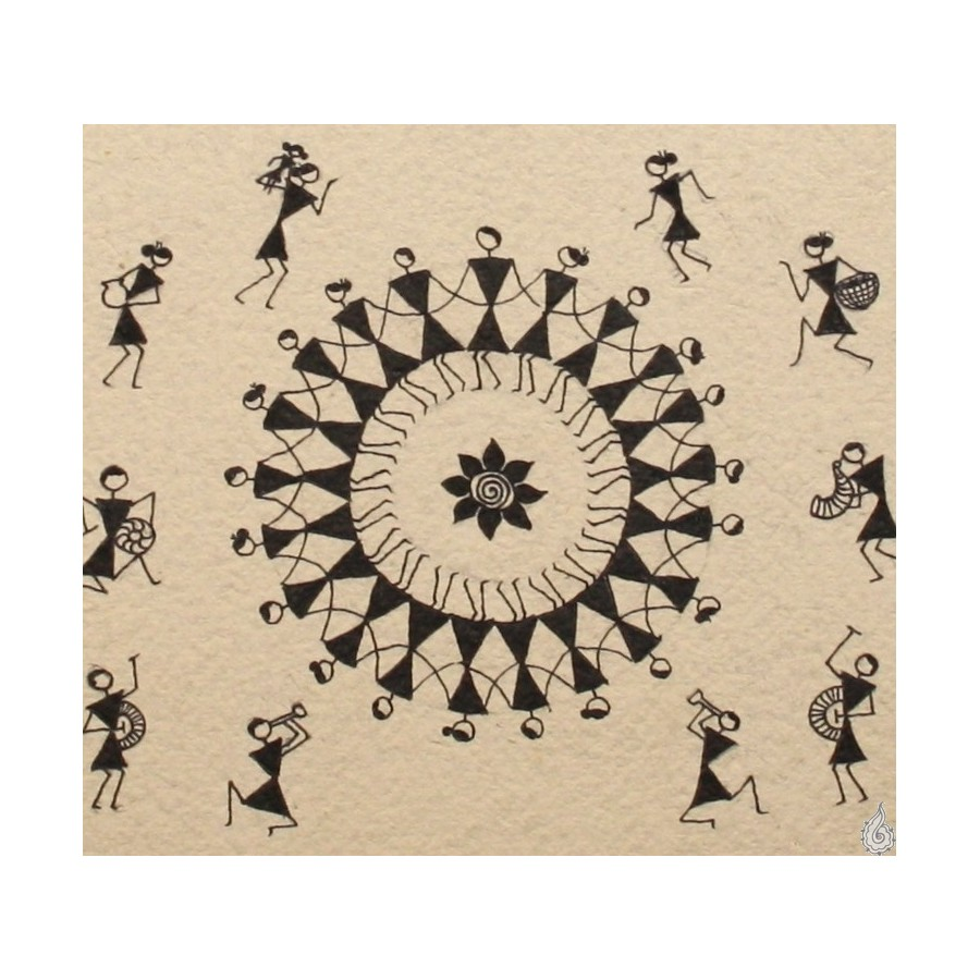 A Warli Painting With Vignettes Of Warlis Way Of Life