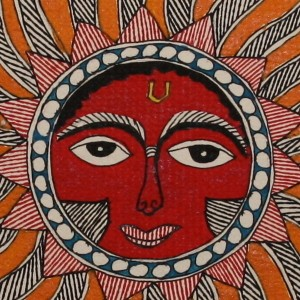 A Madhubani painting of the Sun God.