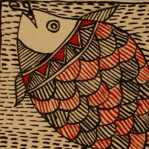 In red and black--a Madhubani fish motif.