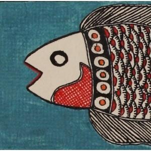 An ornate Madhubani fish