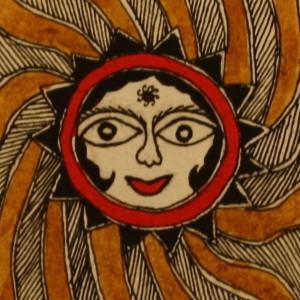 A Madhubani painting of 'surya' the Sun God