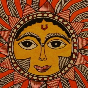 The Sun God in all his glory--A Madhubani painting