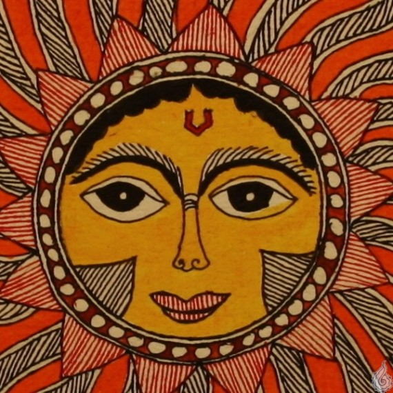 The Sun God In All His Glory A Madhubani Painting