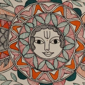 An ornate Madhubani painting
