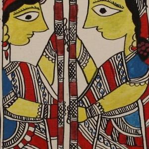 Women chaffing grain--A Madhubani painting