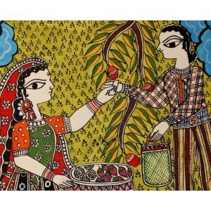 A Madhubani fruit and vegetable seller