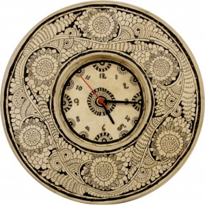 A hand-painted, ornate clock in leather.
