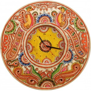 A vibrant leather wall clock