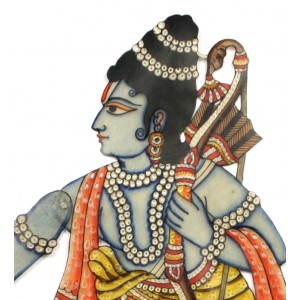 A vibrant leather puppet of the Hindu god Rama