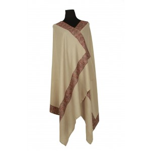 A soft fawn pure wool shawl with traditional Kashmiri border.