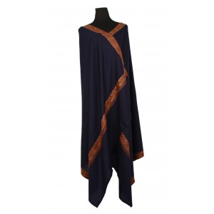 Navy blue pure wool shawl with intricate embroidery