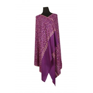 Embroidered, Rich purple high thread count shawl.