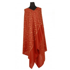 Deep-red pure wool shawl with exquisite overall embroidery