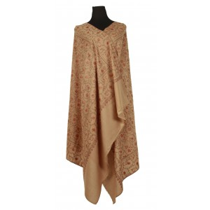 A pure wool fawn/soft tan shawl with all-over embroidery.