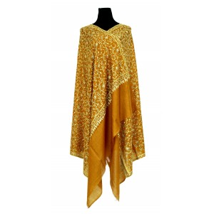 Pure pashmina Ocher shawl with overall embroidery